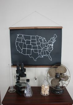 Chalkboard United States Map SMALL SIZE by dirtsastudio on Etsy