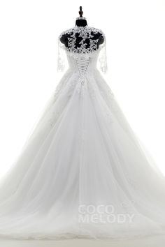 Dramatic A-Line Strapless Train Tulle Ivory Lace Up-Corset Wedding Dress with Jack-Bolero and Appliques CWLT15009