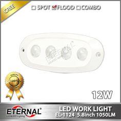 12W marine led work light with flush mount flood beam white housing for marine boat yatch water powersports