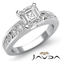 Asscher Diamond Elegant Semi Bezel Set Engagement Ring EGL F VS2 Platinum 1 7 Ct | eBay