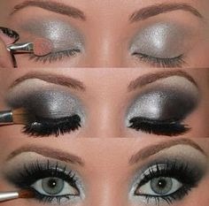 How to: Silver/Black glittery smokey eyes