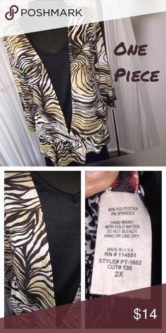 Pretty top for Fall🍂🍁 Stretchy polyester knit ~ looks like 2 tops but it's only 1~ black underneath~. It has an elastici drop waist which hits about hip line.~ very good used condition. Tops