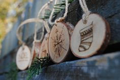 set of 5 rustic wood-burned Holiday wood by ThePeddlersShed