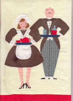 Maid and butler applique Vintage Embroidery, Butler, Maid, The Help, Applique, Kids Rugs, Decor, Scrappy Quilts, Decoration