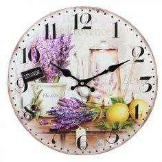 Piękny prowansalski zegar z motywem lawendy w bardzo intensywnych kolorach, dzięki czemu zegar ten ożywi nie jedną kuchnie.