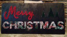 "Merry Christmas string art on wood panel. 34"" x 48"". Kyler Graye Hembree, 2014."