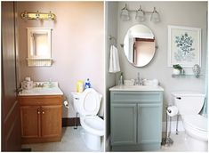 Bathroom, Decor ideas, Makeover, Before-After, Blue, White