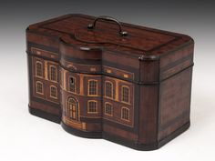 Rare Mahogany Tea Caddy with inlaid Georgian house design to the front. Circa 1760