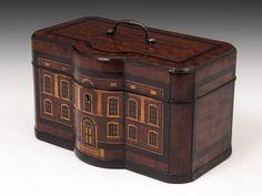 Rare Mahogany Tea Caddy with inlaid Georgian house design to the front. Circa 1760