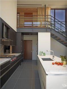 Elegant Metal Stairs home interior design Contemporary Kitchen Baltimore Modern Floor Plans, Kitchen Floor Plans, Kitchen Tiles, Kitchen Cabinets, Base Cabinets, Diy Kitchen, Kitchen Island, Home Design, Studio Design