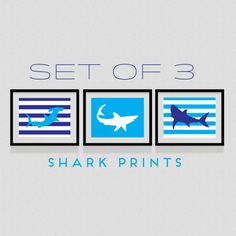 Sharks 3-Set Prints - Nautical Dorm Decor, Nursery, Kid's Room Decor, Wall Art, Striped Shark Sillhouettes, Shark Week on Etsy, $18.00