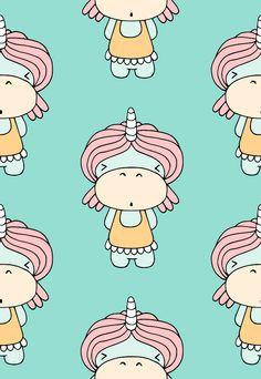 Hippo, Einhorn, Nilpferd, Kinder Stoff von fummelhummel auf stoffn.de Nashorn, Tiere, blau, petrol, türkis, retro, Mädchen, Kinder, bunt, Kleid, Haare, Pferd, rosa, orange, beige, weiß Stoffdesign Sandra Thissen stoffn