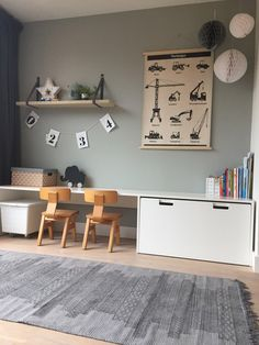 The cutest desk for little ones! A space where kids can get creative, store their toys and play for hours on end. Ikea hack with vintage kids chairs