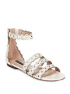 Alice + Olivia - Penny Scalloped Leather Flat Sandals
