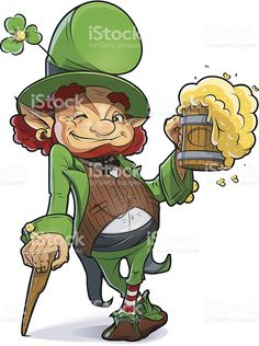 Dwarf with beer. Illustration for saint Patricks day. royalty-free stock vector art
