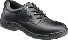 Skidbuster Shoes - Put your best foot forward with confidence in this attractive work oxford. Water-resistant action leather upper with lace-up closure for a secure fit. - #skidbustershoes #blackshoes