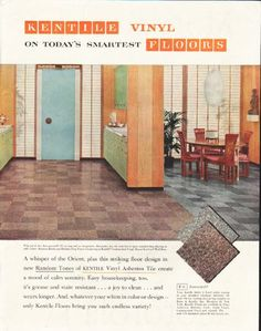 "1958 KENTILE FLOORS vintage magazine advertisement ""Today's Smartest"" ~ Kentile Vinyl on Today's Smartest Floors - A whisper of the Orient, plus this striking floor design in new Random Tones of Kentile Vinyl Asbestos Tile create a mood of calm ..."