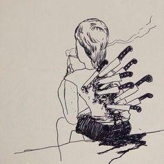 Back stabbers, I'm use to them. Sad Drawings, Dark Art Drawings, Drawing Sketches, Back Stabbers, Drawings Of Friends, Sad Art, Sad Girl Art, Fake Friends, Trust Issues