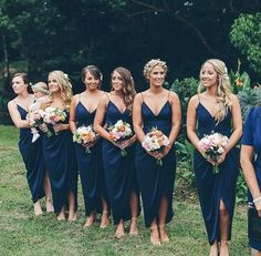 Are you having a navy blue wedding? Then come check out this stunning selection of navy blue bridesmaid dresses that you and your girls will love. Navy Blue Bridesmaid Dresses, Bridesmaids And Groomsmen, Beach Wedding Bridesmaids, Bridesmaid Dresses Australia, Bridesmaid Color, Black Bridesmaids, Blue Wedding, Dream Wedding, Blue Bridal