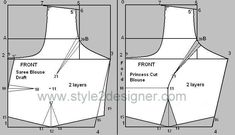 Sewing Blouse Types of Princess Cut Blouse depend on the dart line starts from Armhole, neckline, shoulder and waist. Princess cut draft from Basic sareeblouse draft. Saree Blouse Patterns, Designer Blouse Patterns, Dress Sewing Patterns, Blouse Designs, Sari Blouse, Collar Blouse, Princess Cut Blouse Design, Prince Cuts, Blouse Tutorial