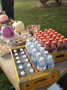 beverages- easy way to pack, unload, and decorate with farm crates Harvest Birthday Party, October Birthday Parties, Fall First Birthday, Fall 1st Birthdays, Fall Harvest Party, Pumpkin 1st Birthdays, Pumpkin Birthday Parties, Pumpkin First Birthday, 1st Birthday Party For Girls