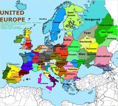 Europe, divided in regions of 10 Million inhabitants