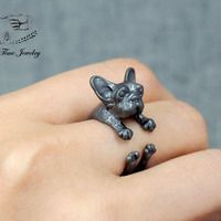 French Bulldog Ring, Adjustable Black 3D realistic puppy animal ring, Dog wrap around ring, doggy jewelry R0029B
