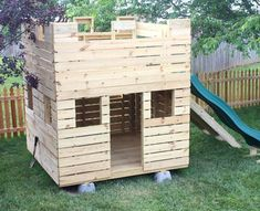 Fun Fortress Playhouse Plan - Birthday - small wooden castle playhouse w/ slide and gang plank You are in the right place about pets cats He - Castle Playhouse, Kids Playhouse Plans, Outside Playhouse, Pallet Playhouse, Backyard Playhouse, Build A Playhouse, Wooden Playhouse, Backyard Playground, Backyard Fort