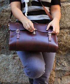 leather messenger , handmade man briefcase - Leather Shoulder Bag Nature $345,96 USD www.ludena.tumblr.com