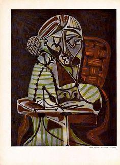 """Pablo Picasso, """"Huile Sur Bois"""", 1951 Verve Lithograph, Original Art #Surrealism"""