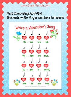 Valentine Composing Activity for Beginners Some years ago I posteda black and red version of this.As it happens with a lot of old material, I forgot about it until it started showing up on Pinte...