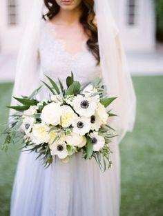 Wedding Bouquet Ideas: White Anemone + Garden Rose - http://www.diyweddingsmag.com/wedding-bouquet-ideas-white-anemone-garden-rose/ #weddingbouquetideas | Photography: Mallory Dawn
