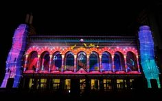 Moment Factory, the multimedia team behind Arcade Fire's recent Coachella performance, unveil a permanent light show on the city's storied boardwalk. Green Christmas Lights, 3d Projection Mapping, Visual Map, Newcastle University, Down South, Light Project, Atlantic City, Parcs, Light Art