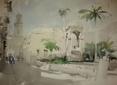 Cesc Farré Watercolor Drawing, Urban Sketching, Art For Art Sake, Drawing Tips, Palm Trees, Sketches, Watercolours, Drawings, Palms