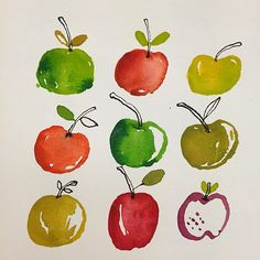 Apples! So excited today for surprise friends to arrive later. #apples #watercolor #paint #fruit