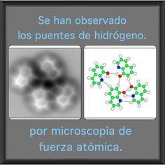 La microscopía de fuerza atómica ha permitido observar los enlaces de hidrógeno que unen los átomos.  Los enlaces de hidrógeno son fundamentales para las moléculas más importantes de la naturaleza. Por ejemplo, son responsables de mantener unidas las cadenas del ADN, sustentan la estructura de muchas proteínas y son la razón de que el agua tenga un punto de ebullición alto (100ºC). Léelo: www.facebook.com/divulgades