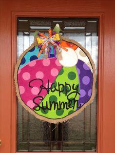 Happy Summer Burlap Door Hanger. (summer beach fun)