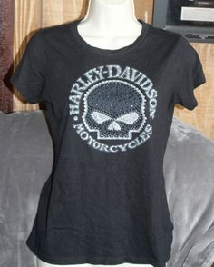 Harley Davidson Black Skull Top with Bling Size Small in Clothing, Shoes & Accessories, Women's Clothing, Tops & Blouses | eBay