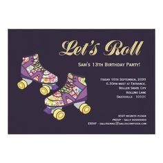 Purple Roller Skate Roller Skating Birthday Party 5x7 Paper Invitation Card