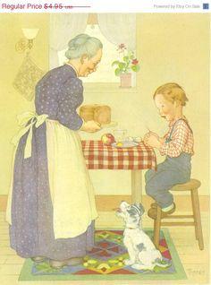 Vintage Children's Print, Marjorie Torrey Illustration, Little Tommy Tucker. c. 1945