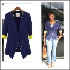 Two tone Spring Blazer Blue & lime green Cotton material with zipper.   Sizes: S 0-2, M 4-6, L 8-10, XL 12-14, XXL 16-18 suggest 1 size up for relaxed arm fit! Jackets & Coats Blazers