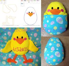 Chick in Egg Stuffie Embroidery Files, Machine Embroidery, Embroidery Designs, Project 4, Couture, Easter Crafts, All Design, Baby Items, Sewing Projects
