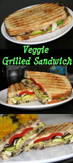 Veggie Grilled Sandwich is the very yummy and easy sandwich. It takes like 10 to 15 minutes of standing time in the kitchen. Take out veggies from the refrigerator, slice them up, heat a grill pan, drizzle the veggie with olive oil, place them on grill, meanwhile finish some other work, flip the veggies, apply pesto on the bread and lead up the veggies and cheese. Eat!!!!! That's it. My family love this sandwich. This sandwich is perfect for the weekend. Grill your choice of vegetables.