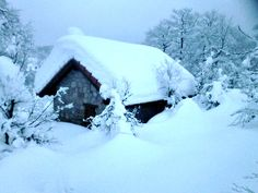 Imágenes que nos han dejado las recientes nevadas en #Navarra... La caseta del proyecto Lindux, en Ibañeta, con más de 1 m. de nieve.