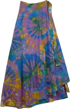 40df035d5ff Pacifika Wrap Tie Dye Boho Long Skirt
