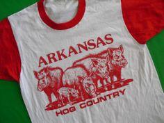 Vtg 80s University of Arkansas Razorbacks Hog Country T Shirt Screen Stars M L   eBay