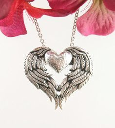 Love of Angels Heart-Shaped Wings Necklace in Sterling Silver