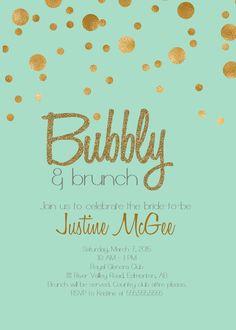 PrintableTiffany Blue and Gold Champagne Brunch bridal shower Invitation