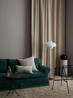 Ivy Green is one of our most popular hues now available in our Simply Linen range made of 50 linen 50 cotton Seen here an IKEA Ektorp sofa with a Bemz Loose Fit cover Styling annaleena. Neutral Curtains, Neutral Sofa, Ektorp Sofa, Green Sofa, Iron Table, Cabinet Colors, Ikea Furniture, Sofa Covers, Elegant Homes