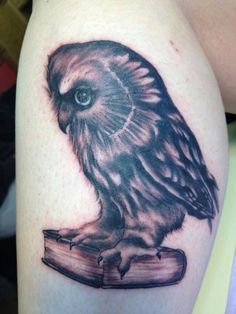 Owl and book tattoo